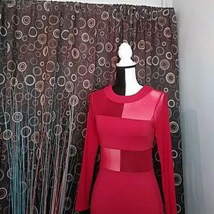 Donna Mizani bandage red sheer dress